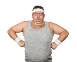 23898022 - funny overweight man flexing his muscle isolated on white background